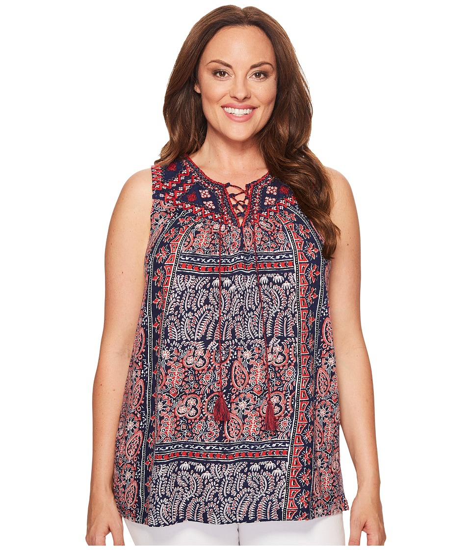 Lucky Brand - Plus Size Americana Top (Navy Multi) Women's Clothing