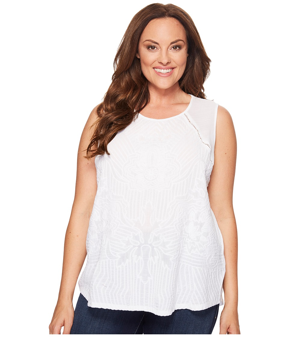 Lucky Brand - Plus Size Embroidered Shell (Bright White) Women's Clothing