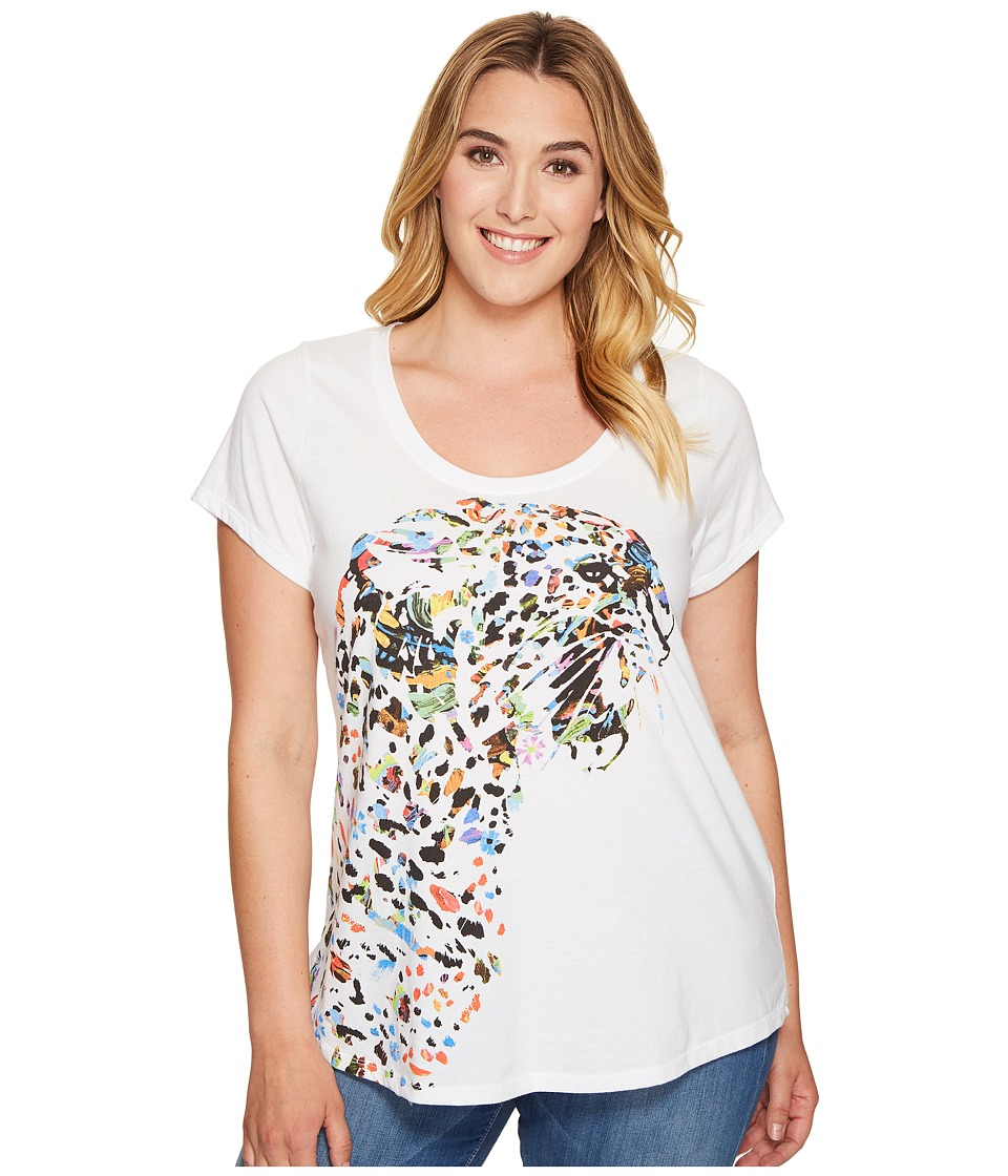 Lucky Brand - Plus Size Cheetah Tee (Lucky White) Women's T Shirt
