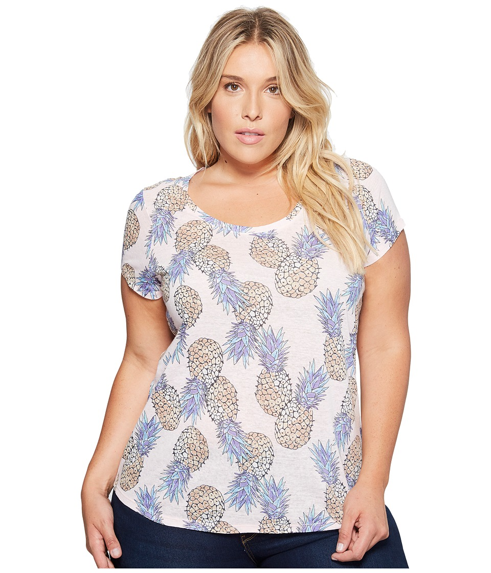 Lucky Brand - Plus Size All Over Pineapple Tee (Pink Multi) Women's T Shirt