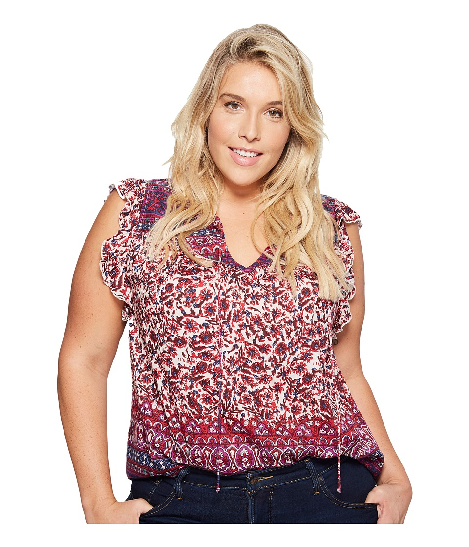 Lucky Brand - Plus Size Lucy Peasant Top (Purple Multi) Women's Clothing