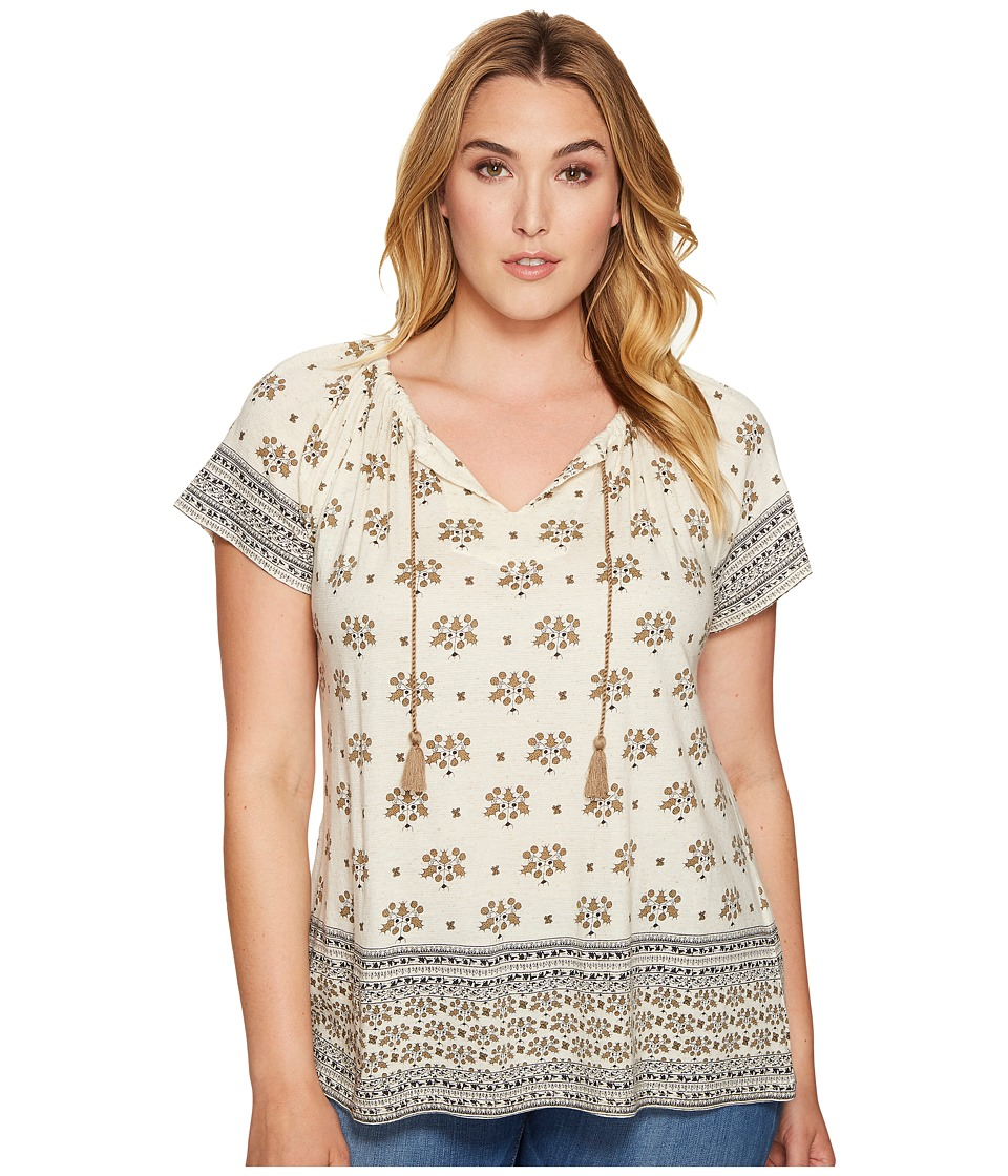 Lucky Brand - Plus Size Border Print Top (Natural Multi) Women's Short Sleeve Pullover