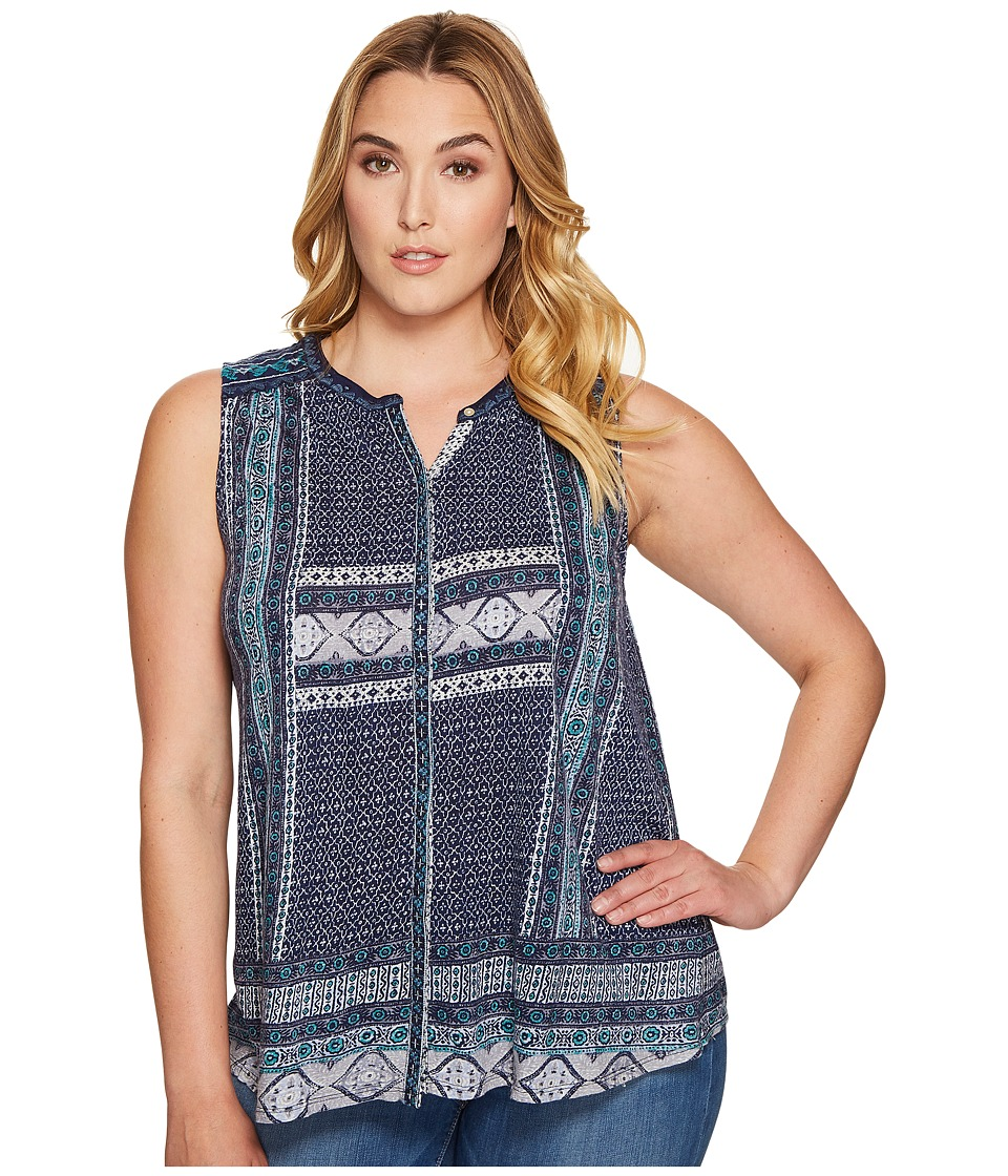 Lucky Brand - Plus Size Border Print Button Up Shell (Blue Multi) Women's Sleeveless