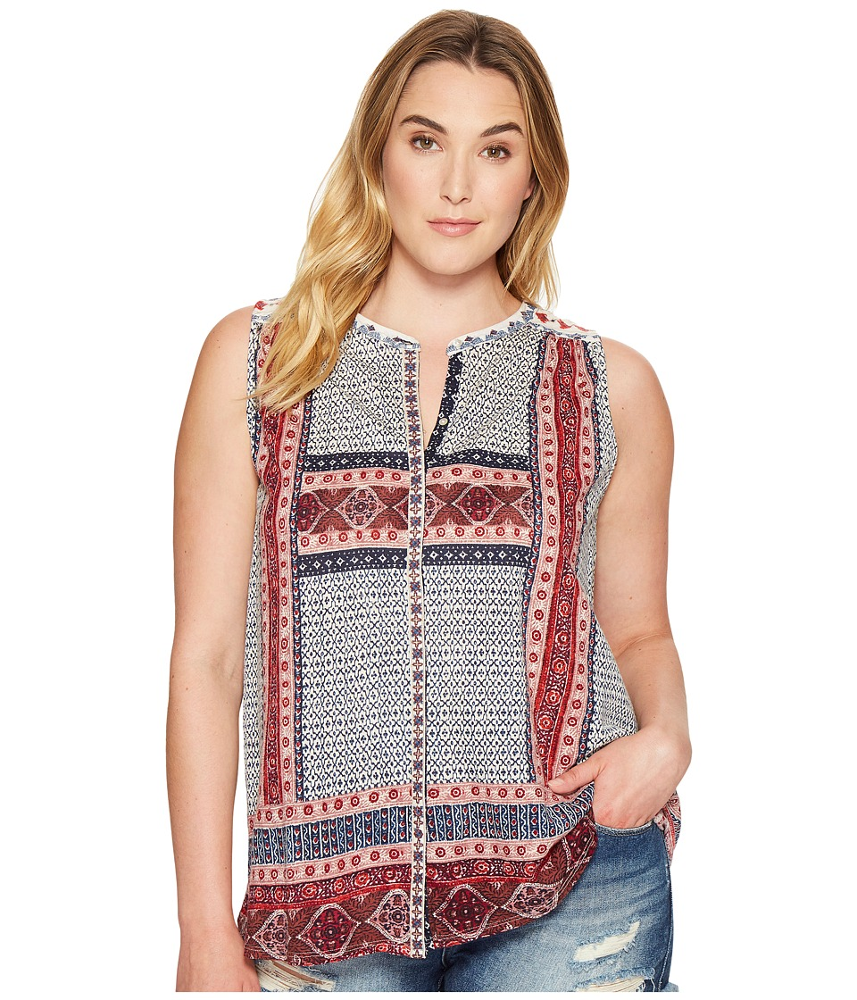 Lucky Brand - Plus Size Border Print Button Up Shell (Red Multi) Women's Sleeveless