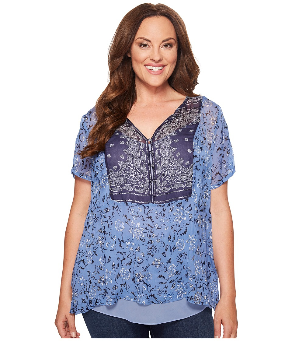 Lucky Brand - Plus Size Scarf Print Top (Navy Multi) Women's Clothing