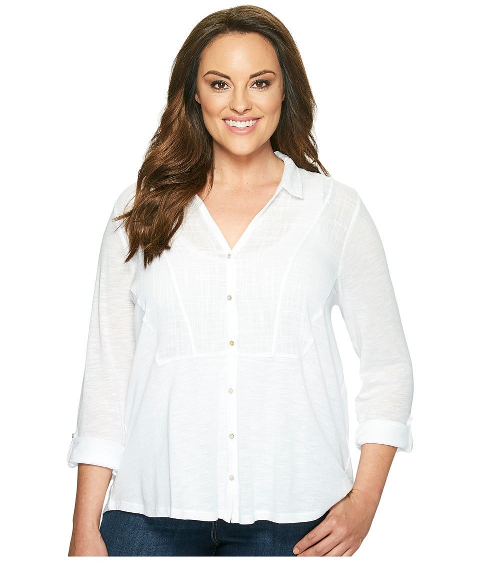 Lucky Brand - Plus Size Woven Gauze Mixed Top (Bright White) Women's Long Sleeve Button Up