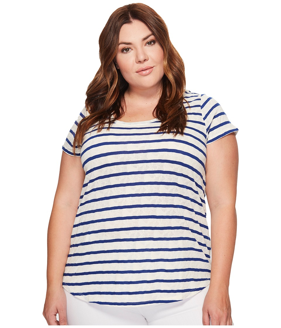 Lucky Brand - Plus Size Stripe Tee (Blue Multi) Women's T Shirt