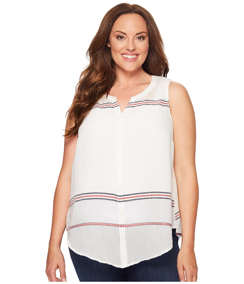 Lucky Brand - Plus Size Stripe Tie Front Top (Red Multi) Women's Sleeveless