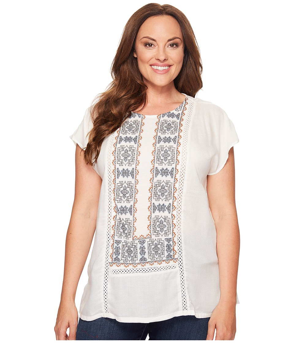 Lucky Brand - Plus Size Embroidered Mix Top (Marshmallow) Women's Clothing