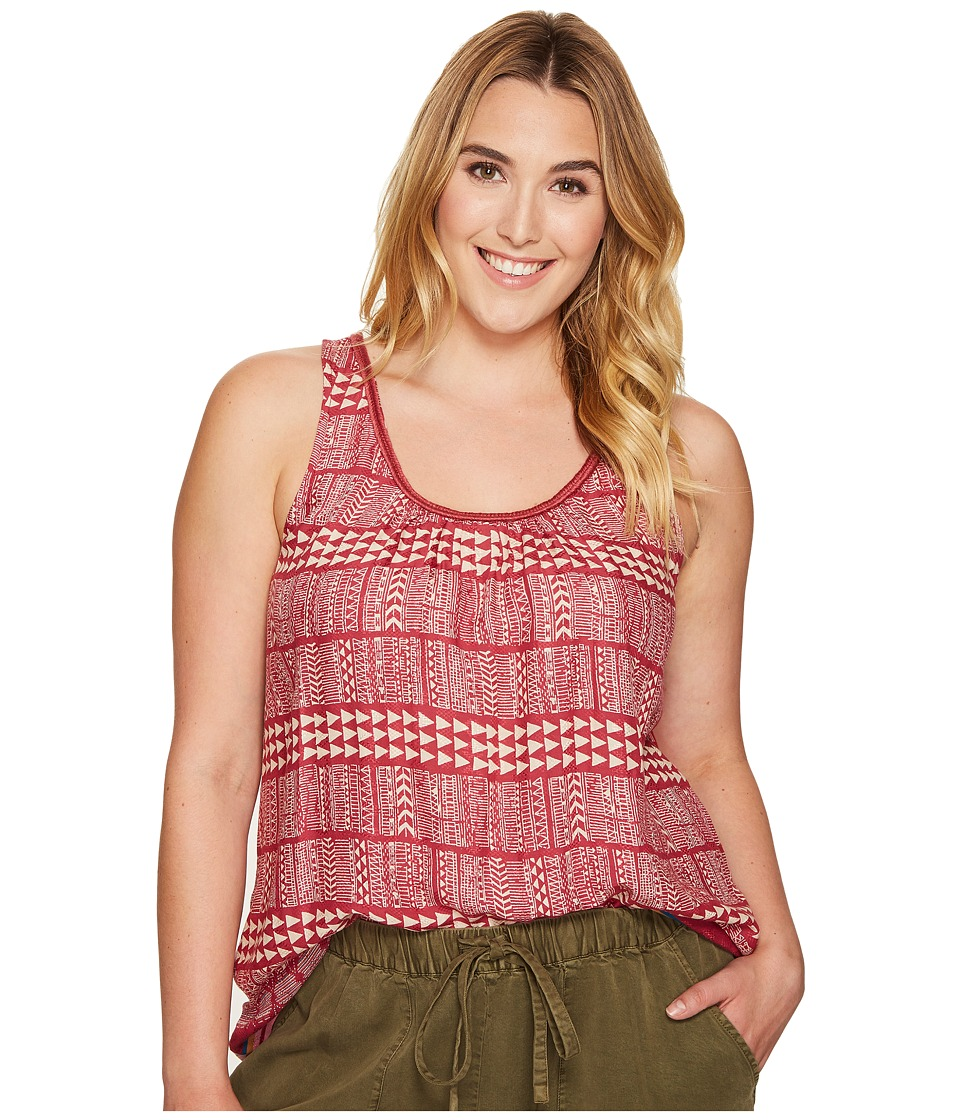 Lucky Brand - Plus Size Red Geo Tank Top (Red Multi) Women's Sleeveless