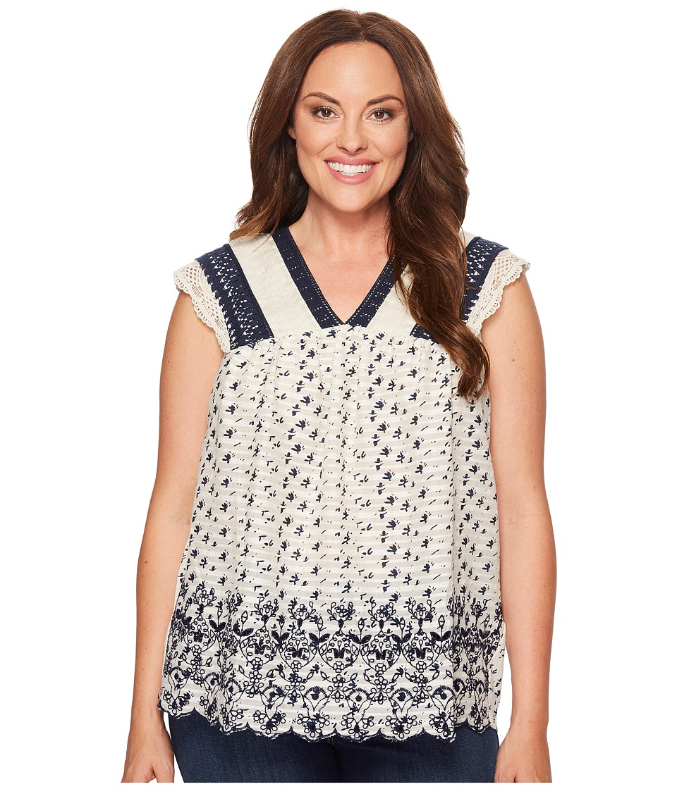 Lucky Brand - Plus Size Printed Embroidered Flutter Top (Natural Multi) Women's Clothing