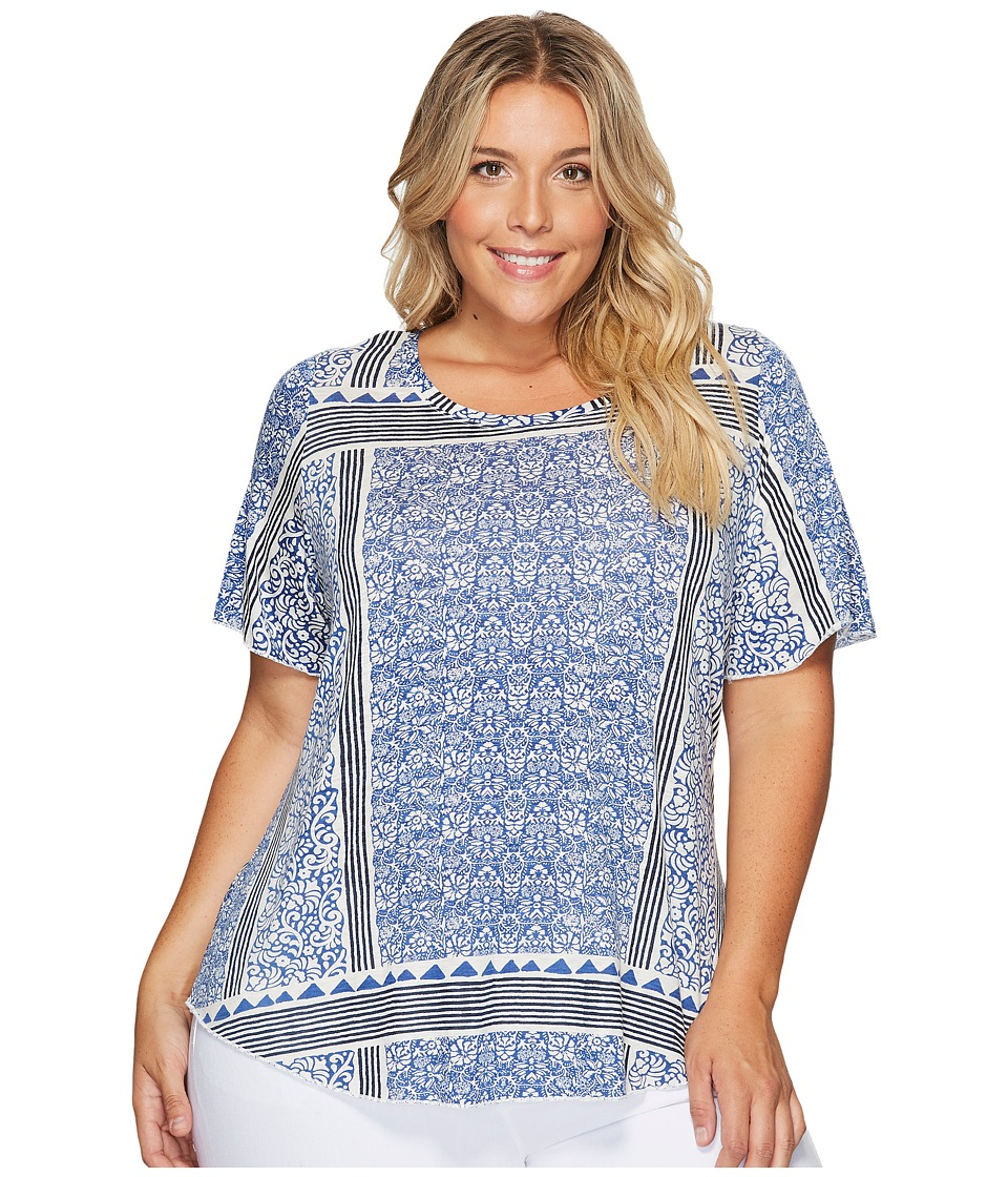 Lucky Brand - Plus Size Triangle Striped Tee (Blue Multi) Women's T Shirt