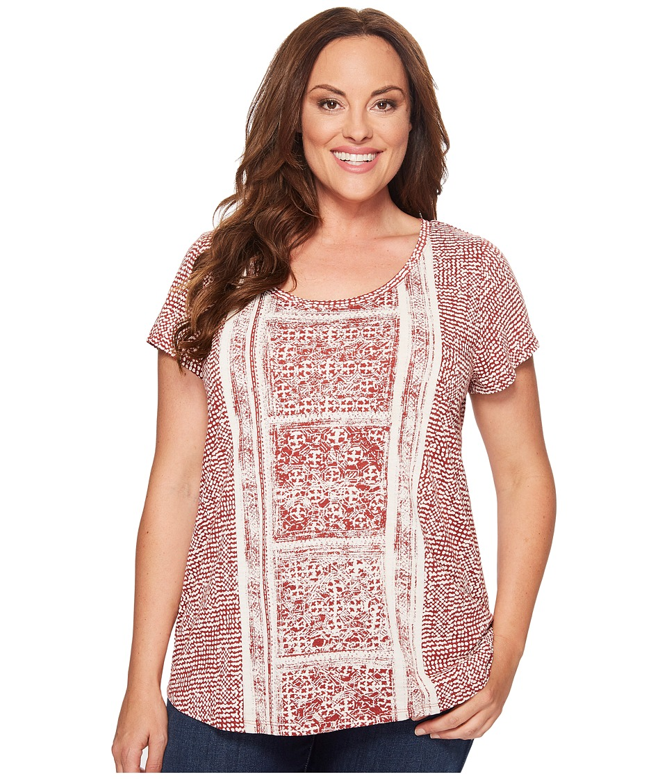 Lucky Brand - Plus Size Spiced Red Printed Tee (Rust Multi) Women's T Shirt