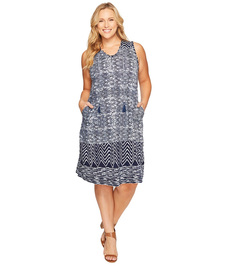 Lucky Brand - Plus Size Blue Batik Dress (Navy Multi) Women's Dress