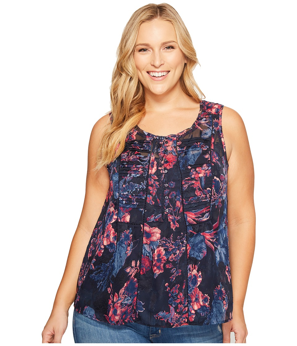 Lucky Brand - Plus Size Audrey Floral Tank Top (Navy Multi) Women's Sleeveless