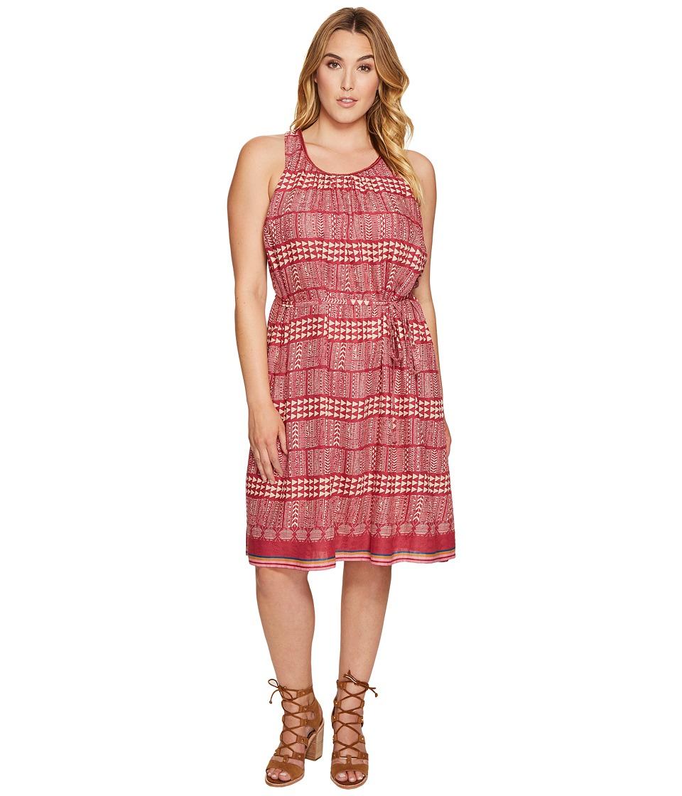 Lucky Brand - Plus Size Jacquard Border Print Dress (Red Multi) Women's Dress