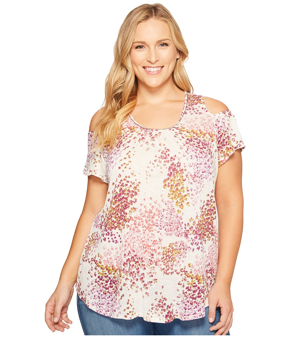 Lucky Brand - Plus Size Floral Cold Shoulder Top (Natural Multi) Women's Clothing