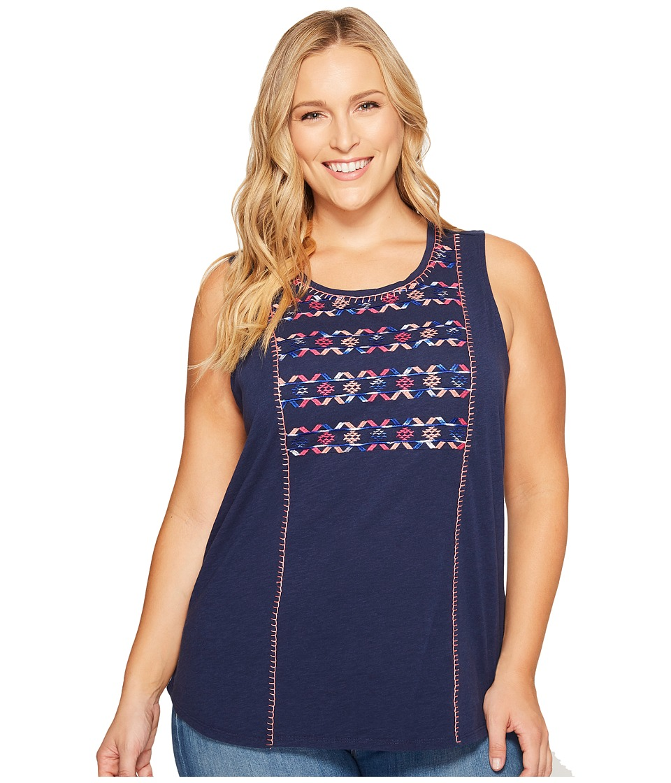 Lucky Brand - Plus Size Geo Embroidered Tank Top (Medieval Blue) Women's Sleeveless