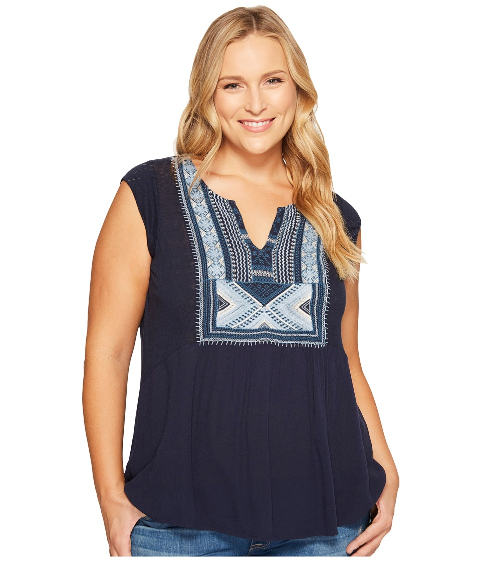 Lucky Brand - Plus Size Embroidered Bib Tank Top (American Navy) Women's Sleeveless