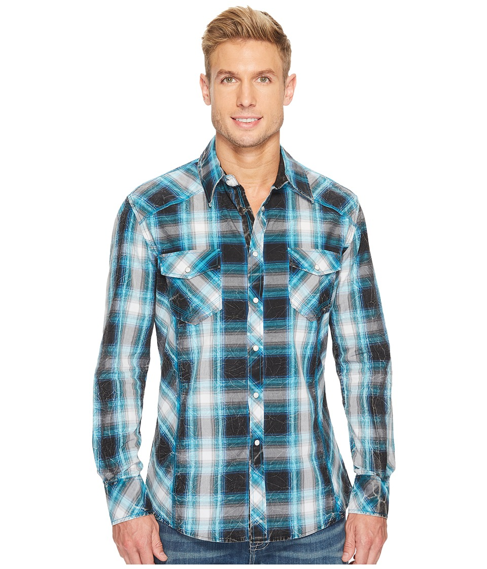 Rock and Roll Cowboy - Long Sleeve Snap B2S3141 (Turquoise) Men's Clothing