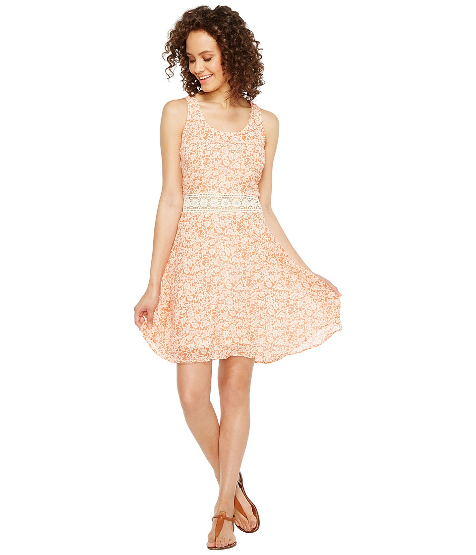 Roper - 1132 Vine Prt Poly Chiffon Tank Dress (Orange) Women's Dress