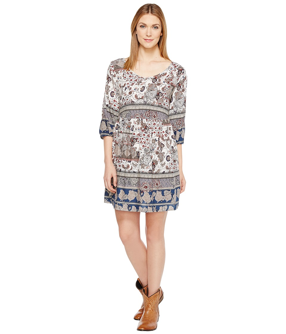 Roper - 1130 Blue/Grey Border Print Rayon Dress (Blue) Women's Dress