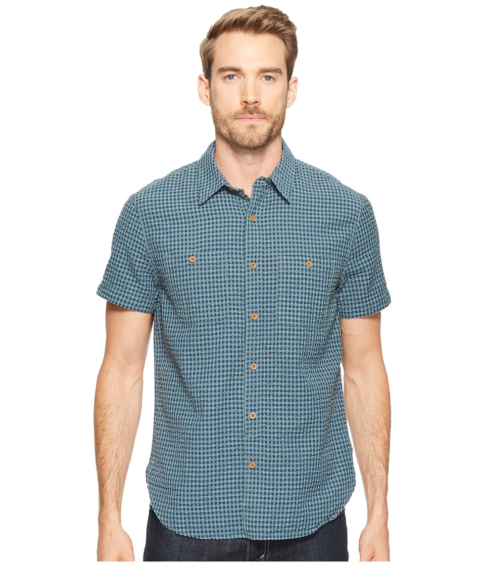 Lucky Brand - Seersucker Mason Shirt (Blue/Green) Men's Clothing