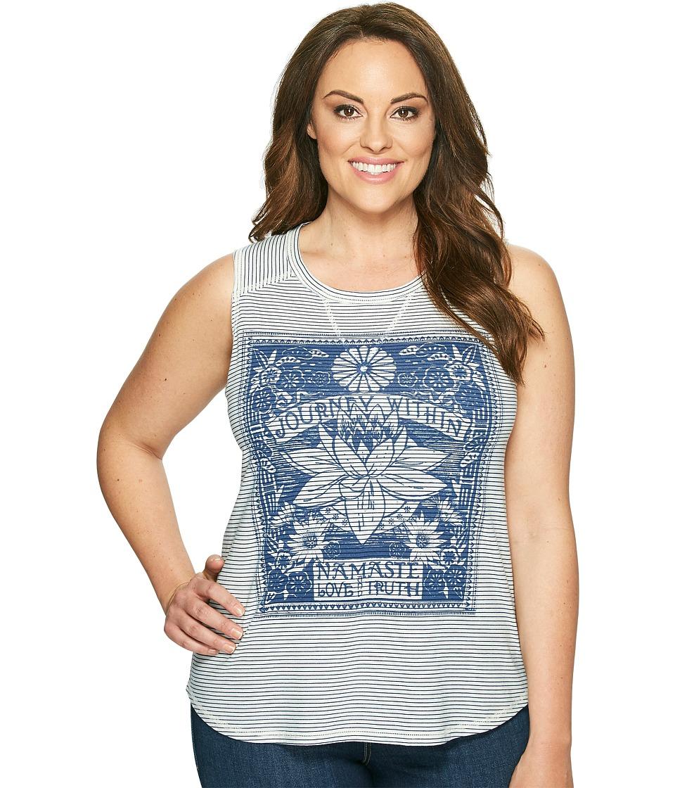 Lucky Brand - Plus Size Striped Matchbox Tank Top (Blue Multi) Women's Sleeveless