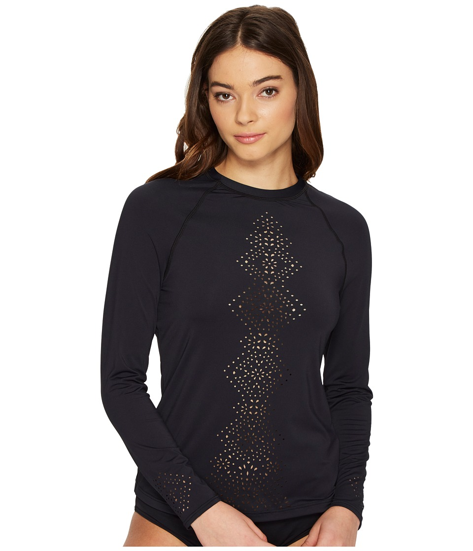Seafolly - Spice Temple Long Sleeve Sunvest (Black) Women's Swimwear