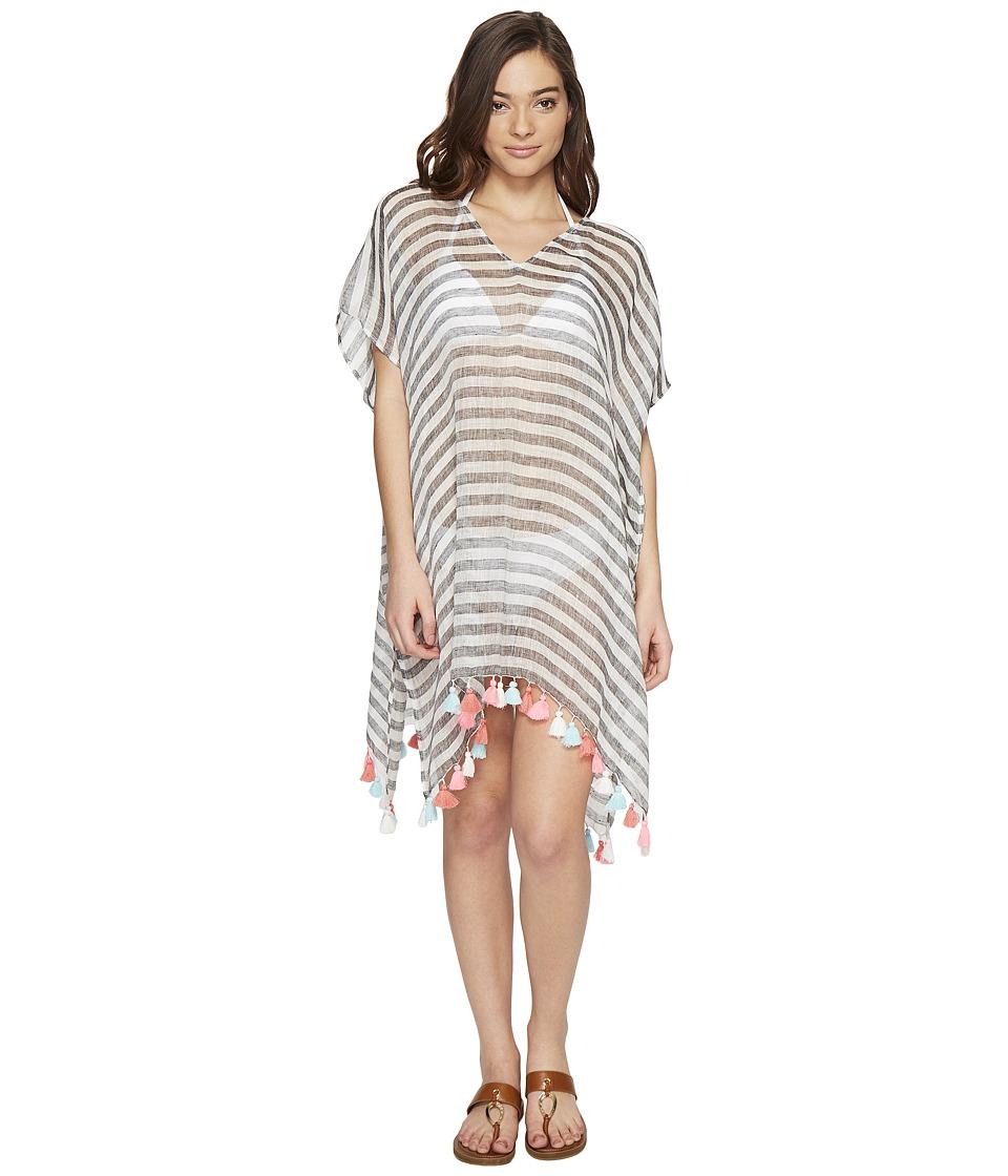 Seafolly - Linen Block Stripe Kaftan Cover-Up (Black) Women's Swimwear