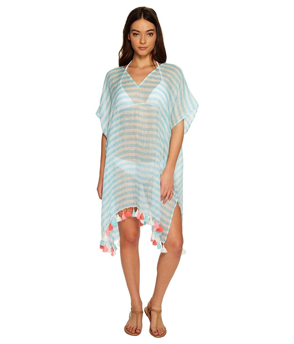 Seafolly - Linen Block Stripe Kaftan Cover-Up (Pastel Turquoise) Women's Swimwear