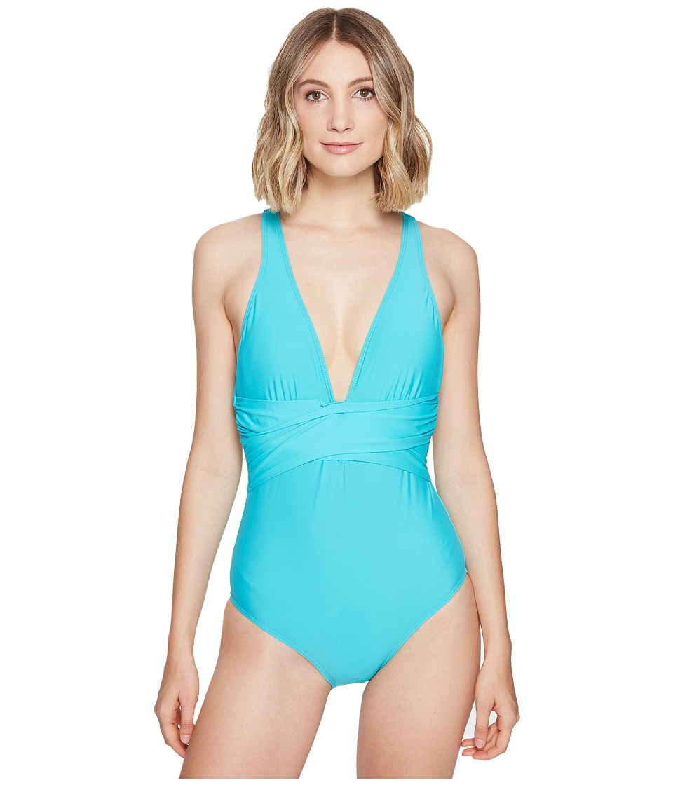 Athena Solids Cross One-Piece (Lagoon) Women