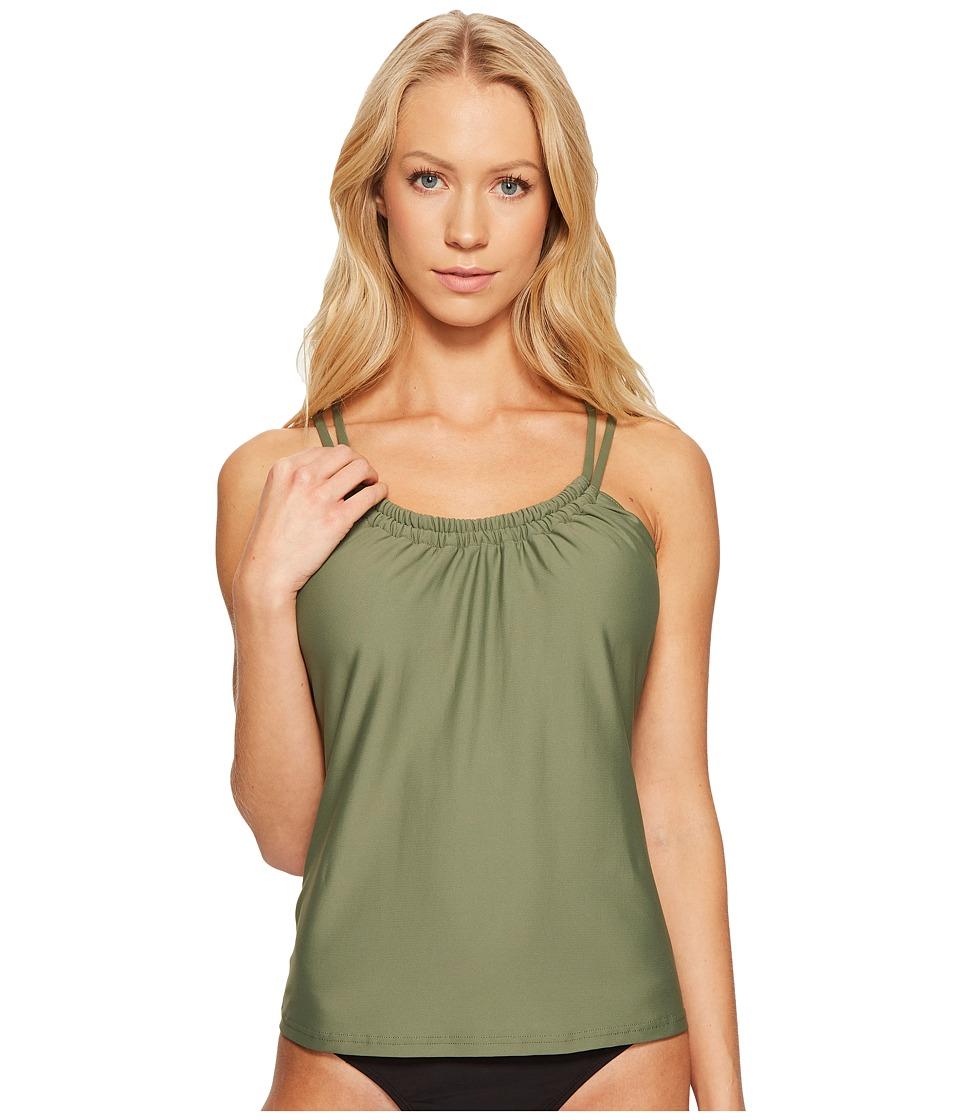 Next by Athena Good Karma Third Eye 2 Shirr Tankini Top (Olive) Women
