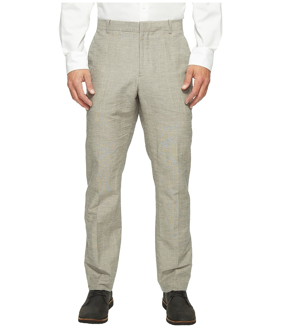Perry Ellis - Slim Fit Linen Cotton End on End Dress Pants (Alloy) Men's Casual Pants
