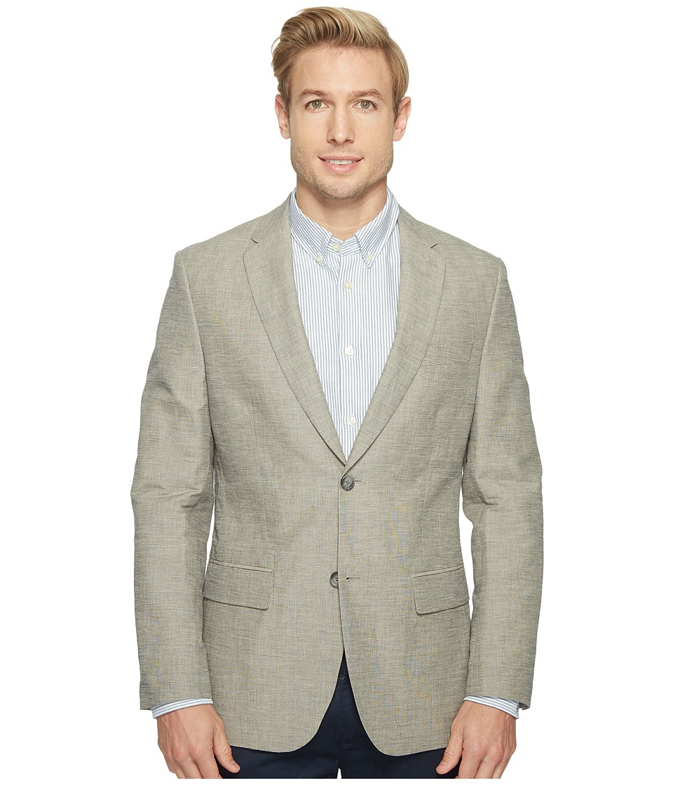 Perry Ellis - Slim Fit End on End Linen Jacket (Alloy) Men's Coat