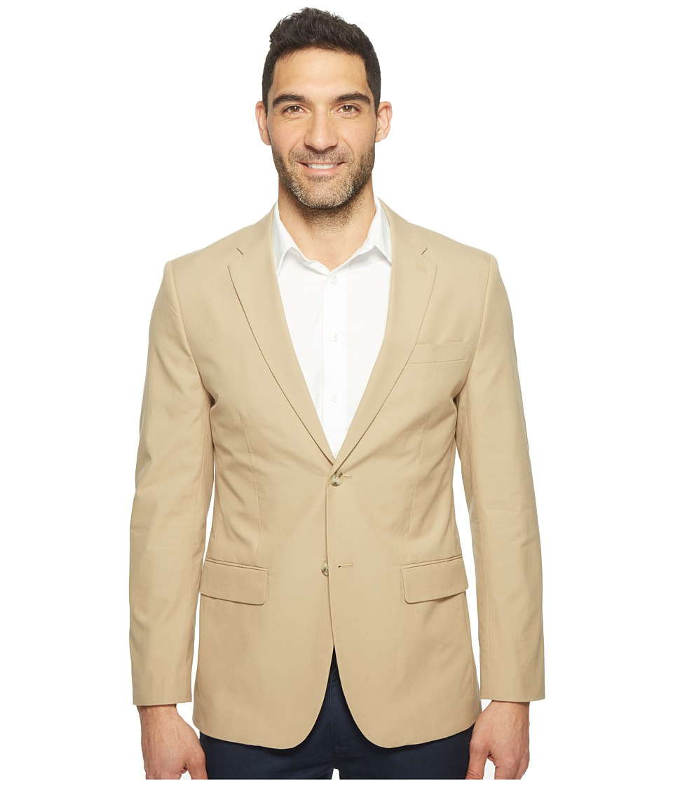 Perry Ellis - Slim Fit Travel Luxe Cotton Jacket (Pale Khaki) Men's Coat