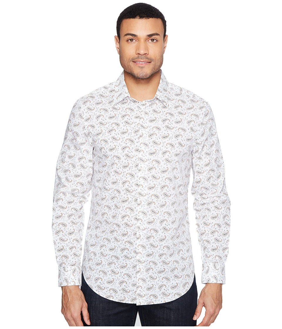 Perry Ellis - Long Sleeve Multicolor Paisley Print Shirt (Bright White) Men's Long Sleeve Button Up