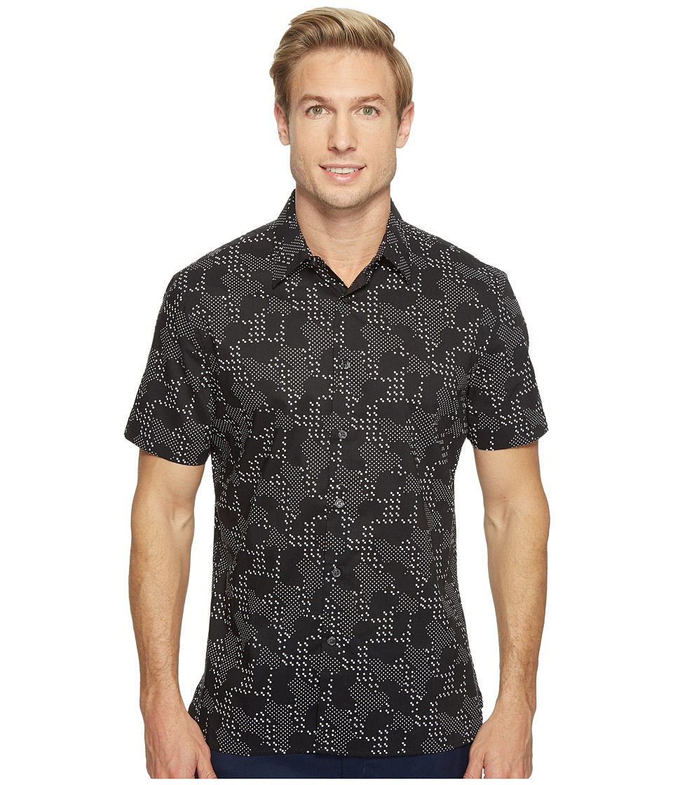 Perry Ellis - Short Sleeve Modern Geo Print Shirt (Black) Men's Short Sleeve Button Up