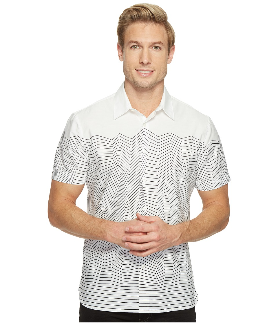 Perry Ellis - Short Sleeve Graphic Linear Print Shirt (Bright White) Men's Short Sleeve Button Up