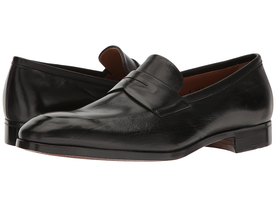 Gravati - Penny Loafer w/ Apron Toe (Black) Men's Shoes