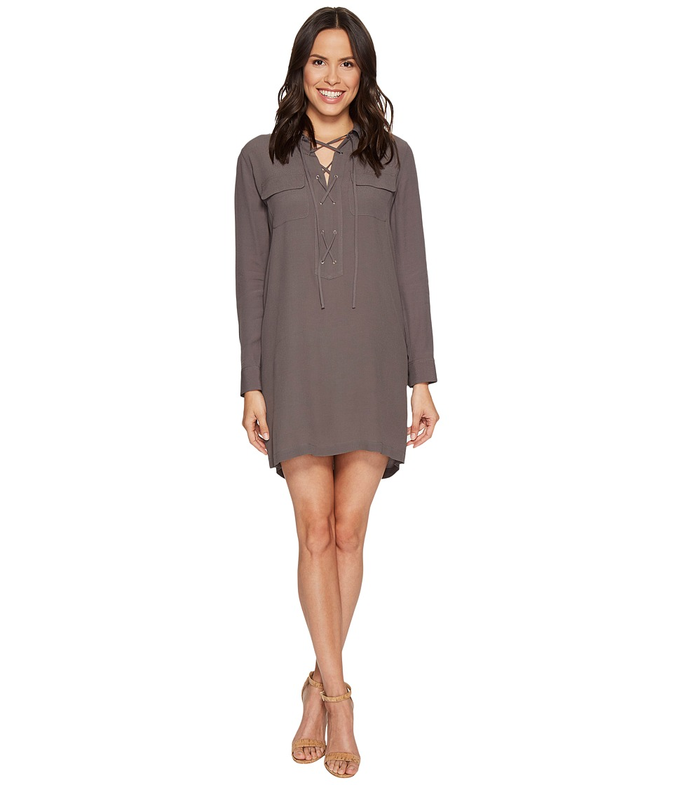 1.STATE - Long Sleeve Lace-Up Shift Dress (Carbon Crystal) Women's Dress