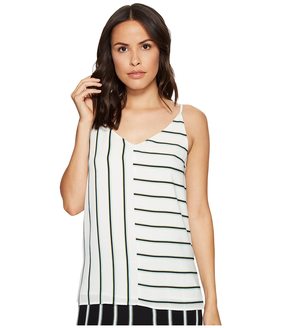 1.STATE - Short Sleeve V-Neck Mixed Stripe (Cloud) Women's Clothing