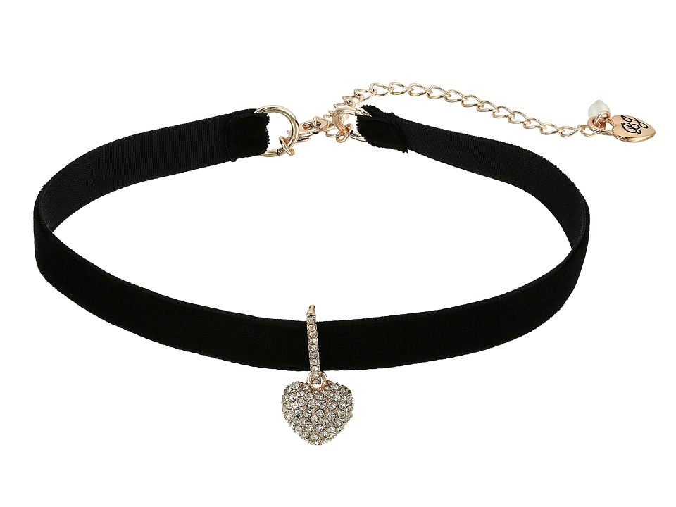 Betsey Johnson - Pave Heart Charm Choker Necklace (Black) Necklace