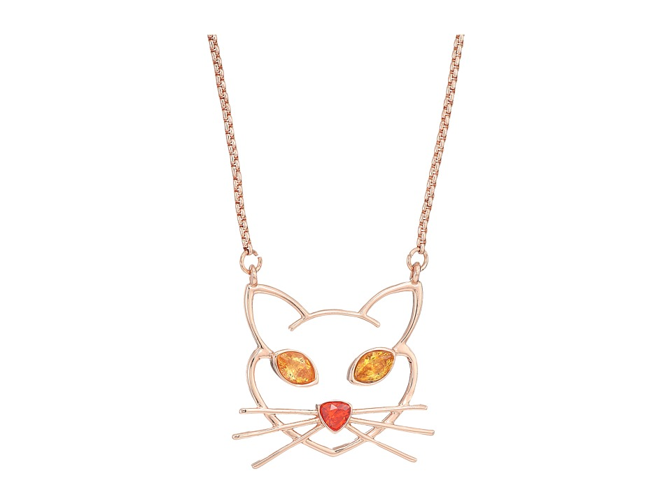 Betsey Johnson - CZ Stone Cat Pendant Necklace (Topaz) Necklace
