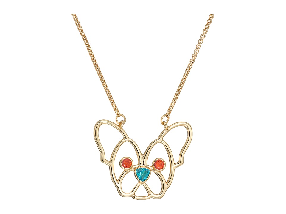 Betsey Johnson - CZ Stone Dog Pendant Necklace (Orange) Necklace