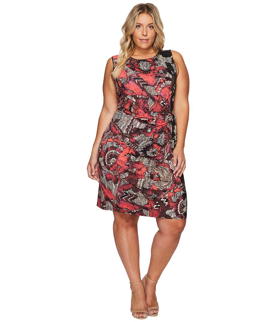 NIC+ZOE - Plus Size Etched Floral Dress (Multi) Women's Dress