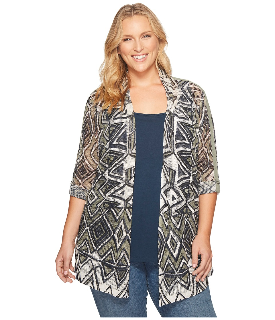 NIC+ZOE - Plus Size Mountain Dream Cardy (Multi) Women's Sweater