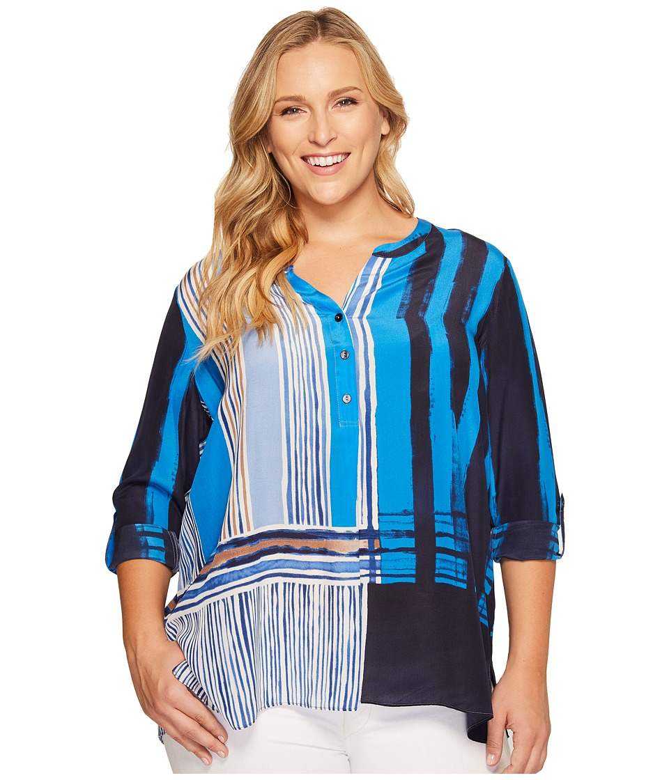 NIC+ZOE - Plus Size Blue Blocks Top (Multi) Women's Clothing