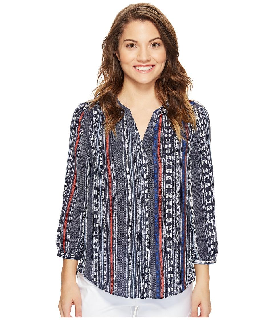 NYDJ Petite - Petite Pintuck Blouse (Piana Stripes Blue) Women's Blouse