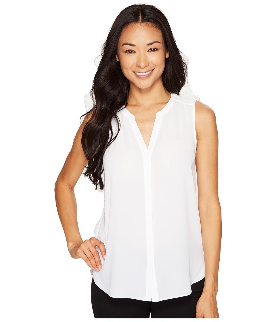NYDJ Petite - Petite Sleeveless Pintuck Blouse (Optic White) Women's Blouse